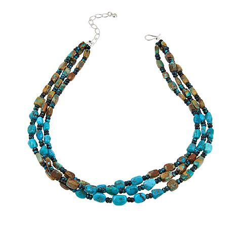 "Jay King 3-Strand Seven Peaks Turquoise Bead 18"" Necklace"