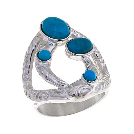 Jay King 4-Stone Turquoise Sterling Silver Ring