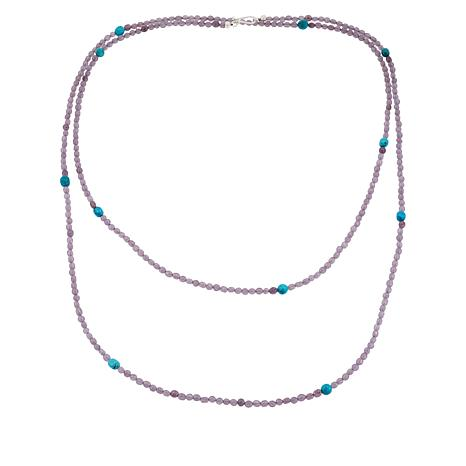 """Jay King 60"""" Sterling Silver Lepidolite and Turquoise Bead Necklace"""