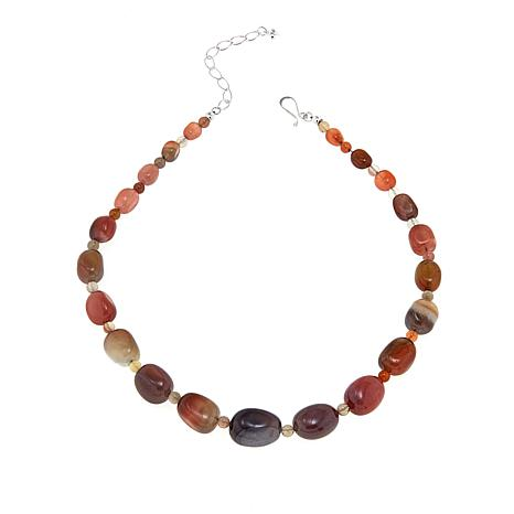 """Jay King African Chalcedony Bead 18"""" Sterling Silver Necklace"""