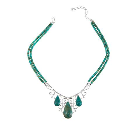 """Jay King Alicia Turquoise 18"""" Sterling Silver Necklace"""