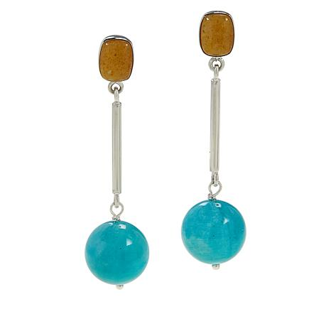 Jay King Amazonite and Butterscotch Amber Drop Earrings