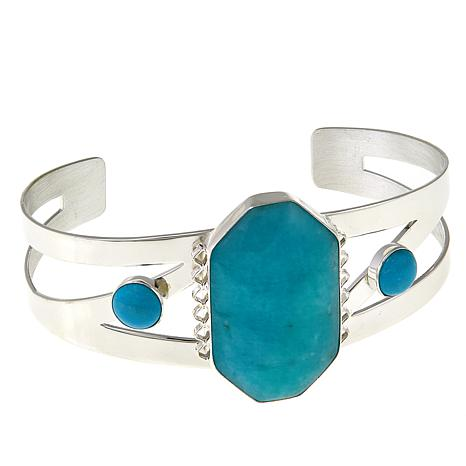 Jay King Amazonite and Turquoise Sterling Silver Cuff Bracelet
