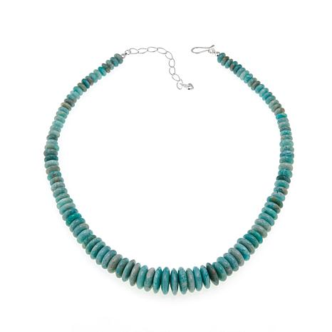 "Jay King Amazonite Bead 20"" Sterling Silver Necklace"