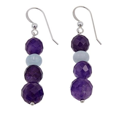 Jay King Amethyst and Aquamarine Sterling Silver Bead Drop Earrings