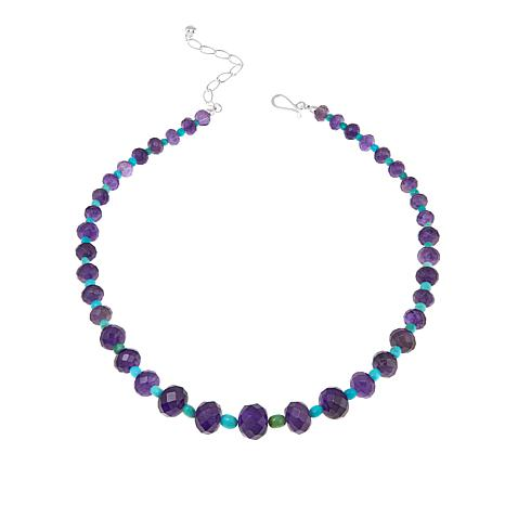 "Jay King Amethyst and Turquoise Bead 18"" Sterling Silver Necklace"