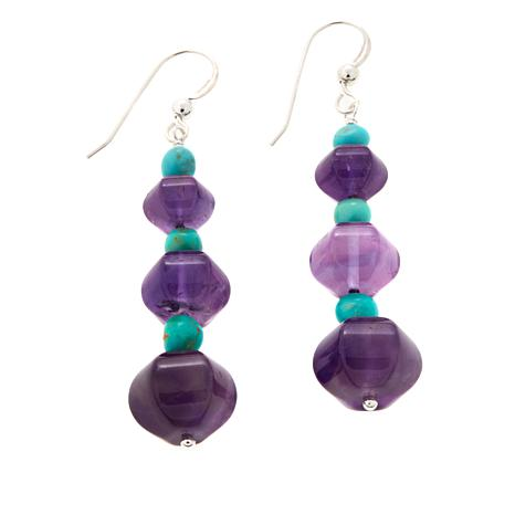 Jay King Amethyst and Turquoise Bead Drop Earrings