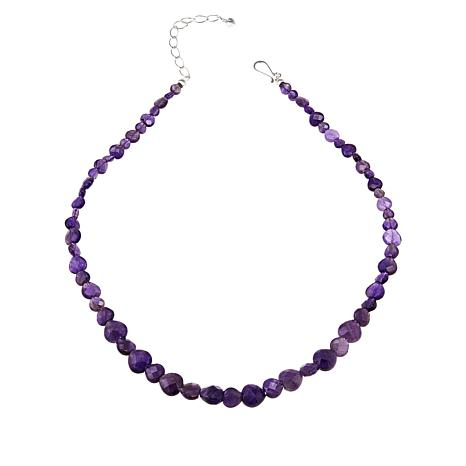 """Jay King Amethyst Heart Bead 20"""" Sterling Silver Necklace"""