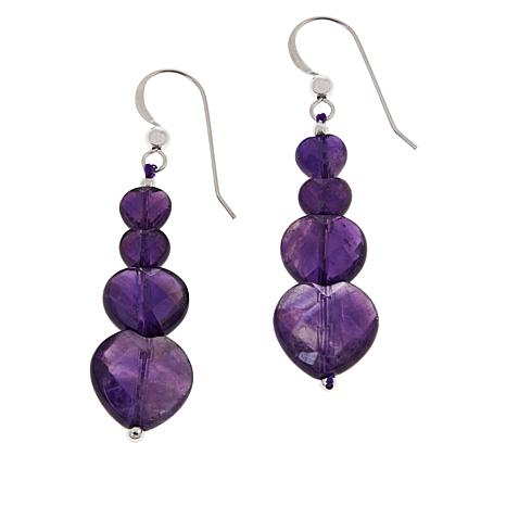 Jay King Amethyst Heart Bead Drop Sterling Silver Earrings