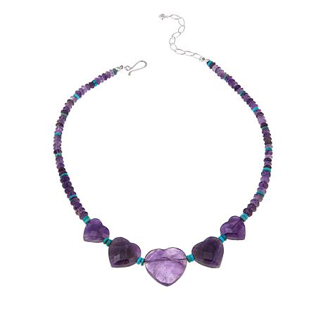 "Jay King Amethyst Hearts and Turquoise Bead Reversible 18"" Necklace"