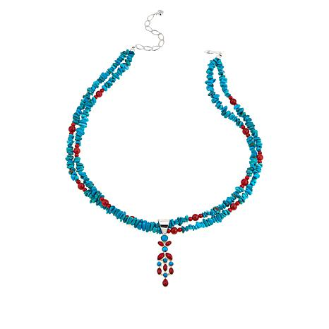 Jay King Andean Blue Turquoise & Red Sea Bamboo Coral Pendant/Necklace