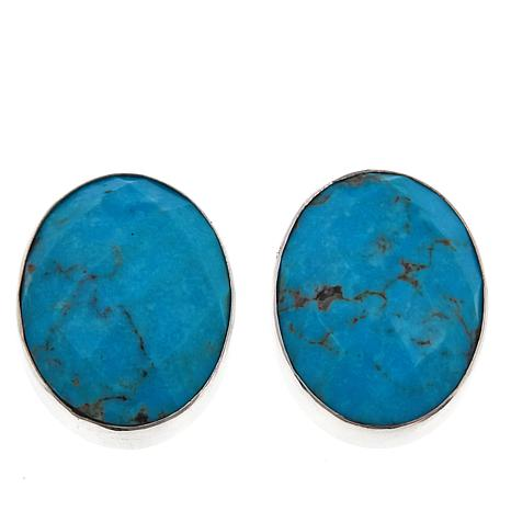 Jay King Andean Blue Turquoise Oval Stud Earrings