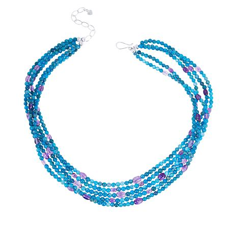 Jay King Apatite and Amethyst Bead 5-Strand Necklace