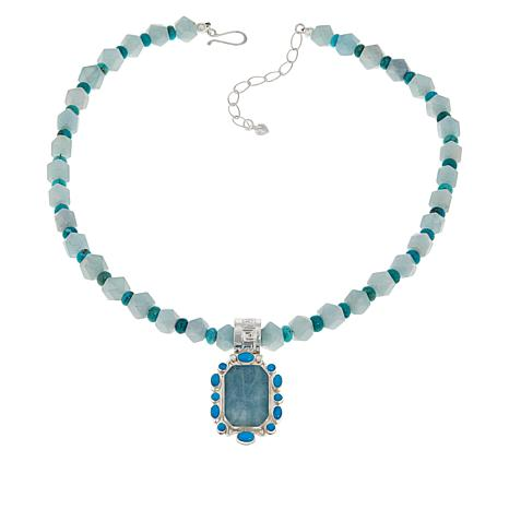 Jay King Aquamarine and Turquoise Pendant with Beaded Necklace