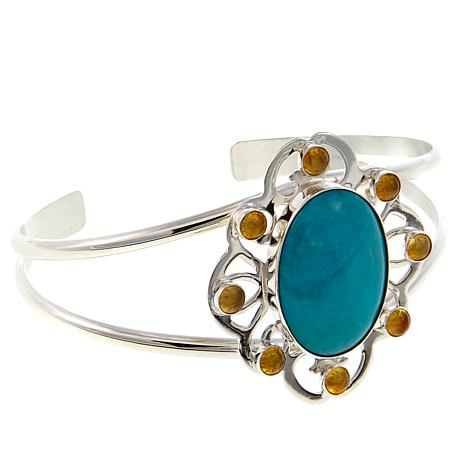 Jay King Azure Peaks Turquoise and Amber Sterling Silver Cuff Bracelet