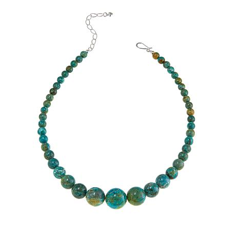 """Jay King Azure Peaks Turquoise Bead 18-1/4"""" Sterling Silver Necklace"""