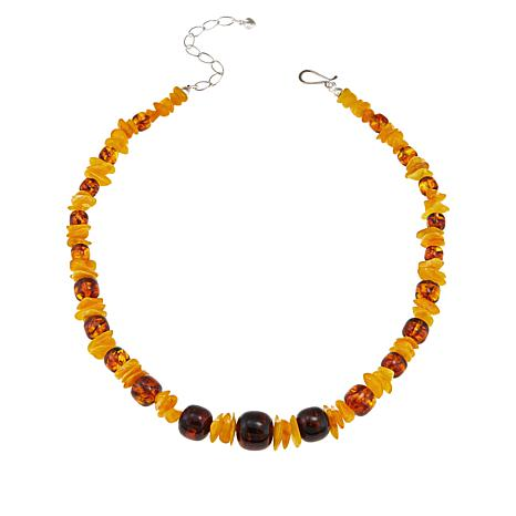 "Jay King Bi-Color Amber Bead 18"" Sterling Silver Necklace"