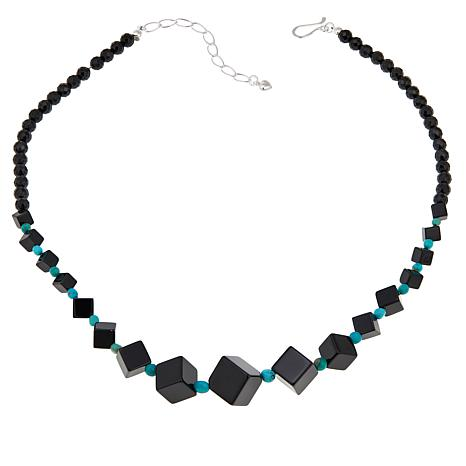 "Jay King Black Agate and Turquoise 20"" Sterling Silver Necklace"