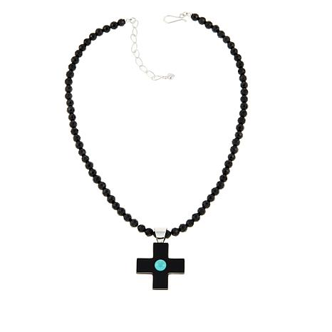 Jay King Black Agate and Turquoise Cross Pendant