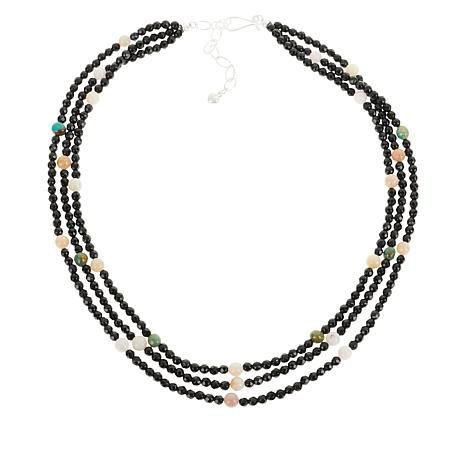 Jay King Black Chalcedony, Turquoise and Pink Opal Bead Necklace