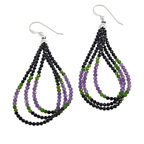 Jay King  Black Spinel and Multi-Gem Beaded Loop Earrings