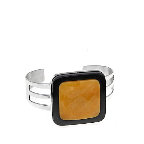 Jay King Black Tourmaline and Aragonite Cuff Bracelet