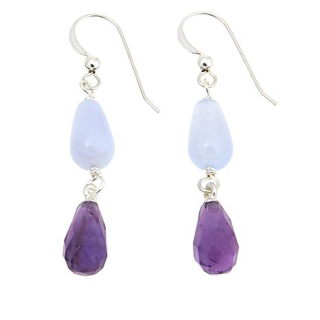 Jay King Blue Agate and Amethyst Drop Earrings