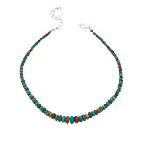 """Jay King Blue and Brown Seven Peaks Turquoise Bead 18"""" Necklace"""
