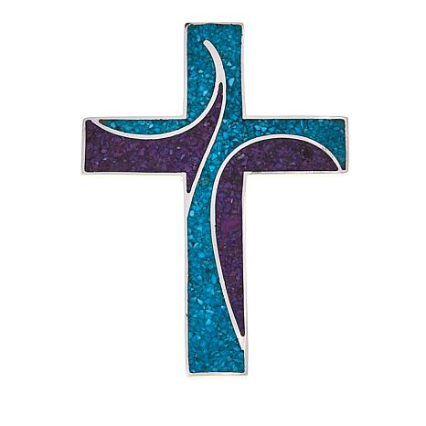 Jay King Blue and Purple Turquoise Inlay Cross Sterling Silver Pendant