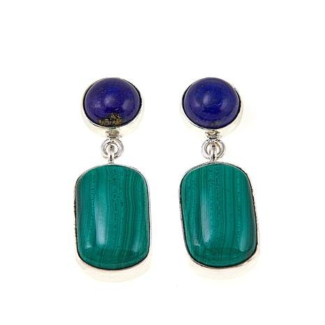 Jay King Blue Lapis and Malachite Sterling Silver Drop Earrings
