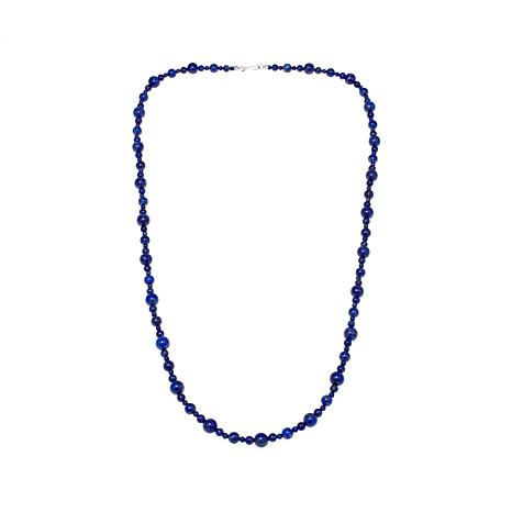 "Jay King Blue Lapis Bead 36"" Sterling Silver Necklace"