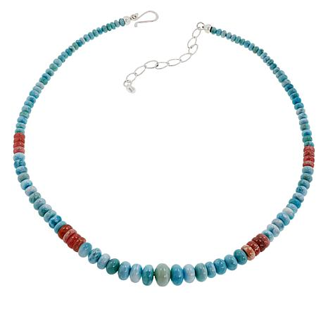 Jay King Blue Larimar and Rhodochrosite Bead Necklace