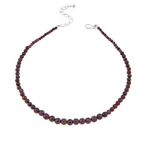 "Jay King Burgundy Corundum Bead 18"" Necklace"