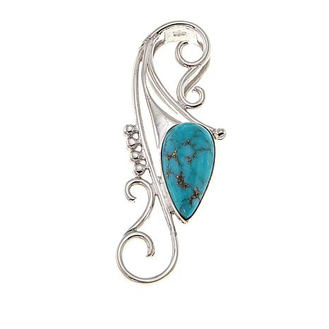 Jay King Campitos Turquoise Scroll Sterling Silver Pendant