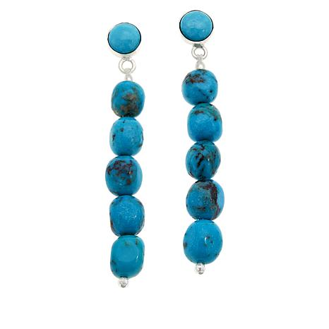 Jay King Cloudy Mountain Turquoise and Gem Beaded Dangle Earrings