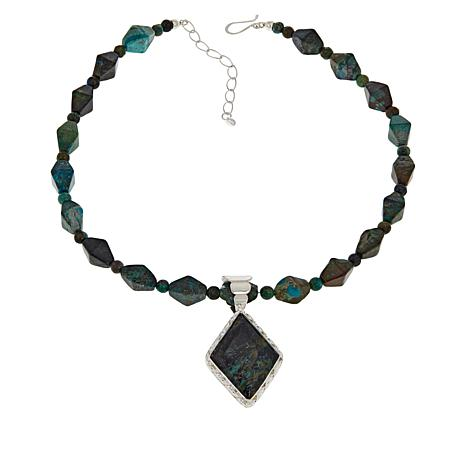 """Jay King Courtland Plume Stone Pendant with 18"""" Beaded Necklace"""