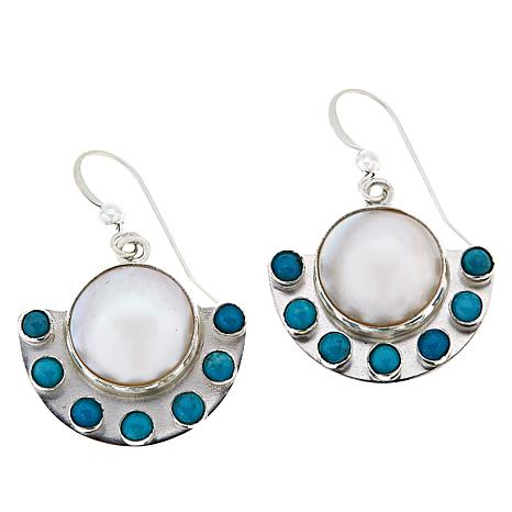 Jay King  Cultured Mabé Pearl and Turquoise Drop Earrings