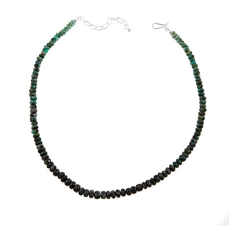 "Jay King Emerald Bead Sterling Silver 19-1/4"" Necklace"