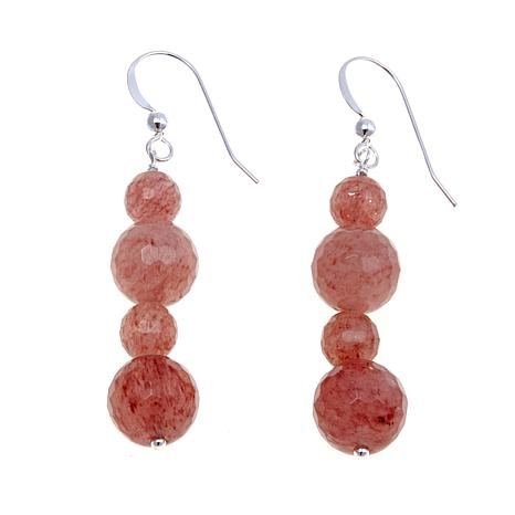 Jay King Faceted Bead Strawberry Quartz Earrings