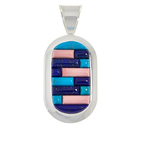 Jay King Gallery Collection Sterling Silver Multi-Stone Inlay Pendant
