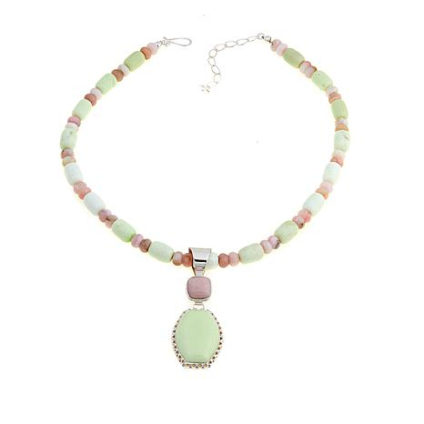 Jay King Gaspeite and Pink Opal Pendant-Necklace