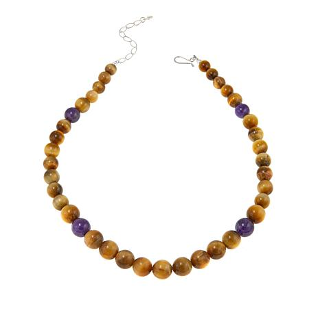 "Jay King Golden Tiger's Eye and Amethyst Bead 20-1/4"" Necklace"