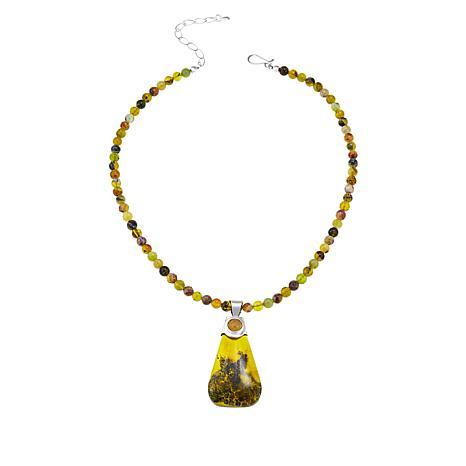 Jay King Green Goddess Opal and Citrine Pendant with Necklace
