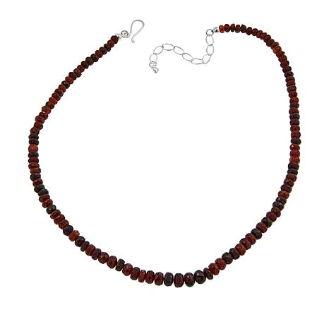 "Jay King Hessonite Garnet Bead 18-1/2"" Sterling Silver Necklace"