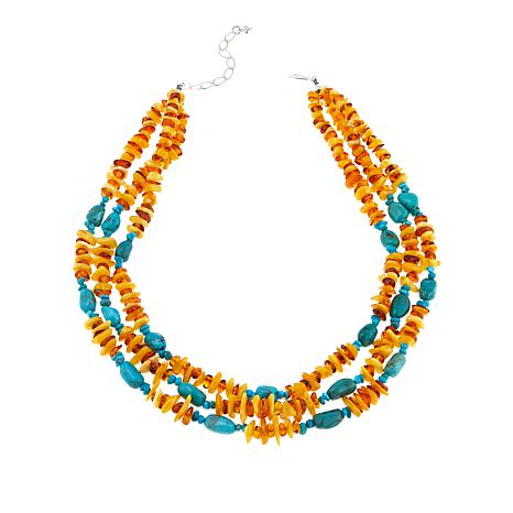 """Jay King Hubei Turquoise and Amber 3-Strand 18"""" Necklace"""
