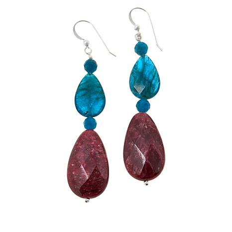 Jay King Indigo Blue Apatite and Red Thulite Drop Earrings