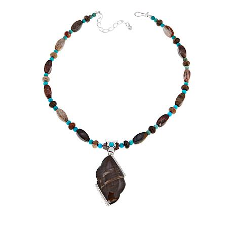 Jay King Juniper Petrified Wood and Turquoise Pendant with Necklace