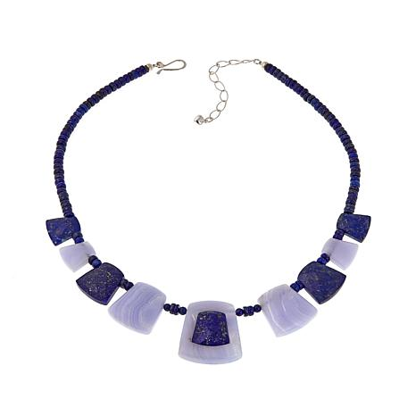 "Jay King Lapis and Blue Agate Reversible 18"" Necklace"