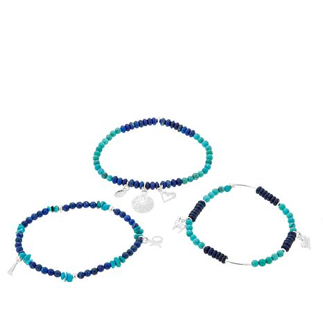 Jay King Lapis and Turquoise Bead Stretch Bracelets