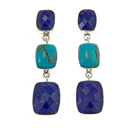 Jay King Lapis and Turquoise Drop Sterling Silver Earrings